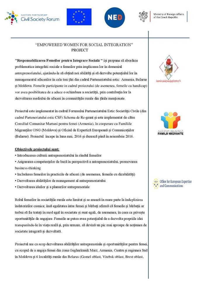 Responsabilizarea Femeilor pentru Integrare Socială