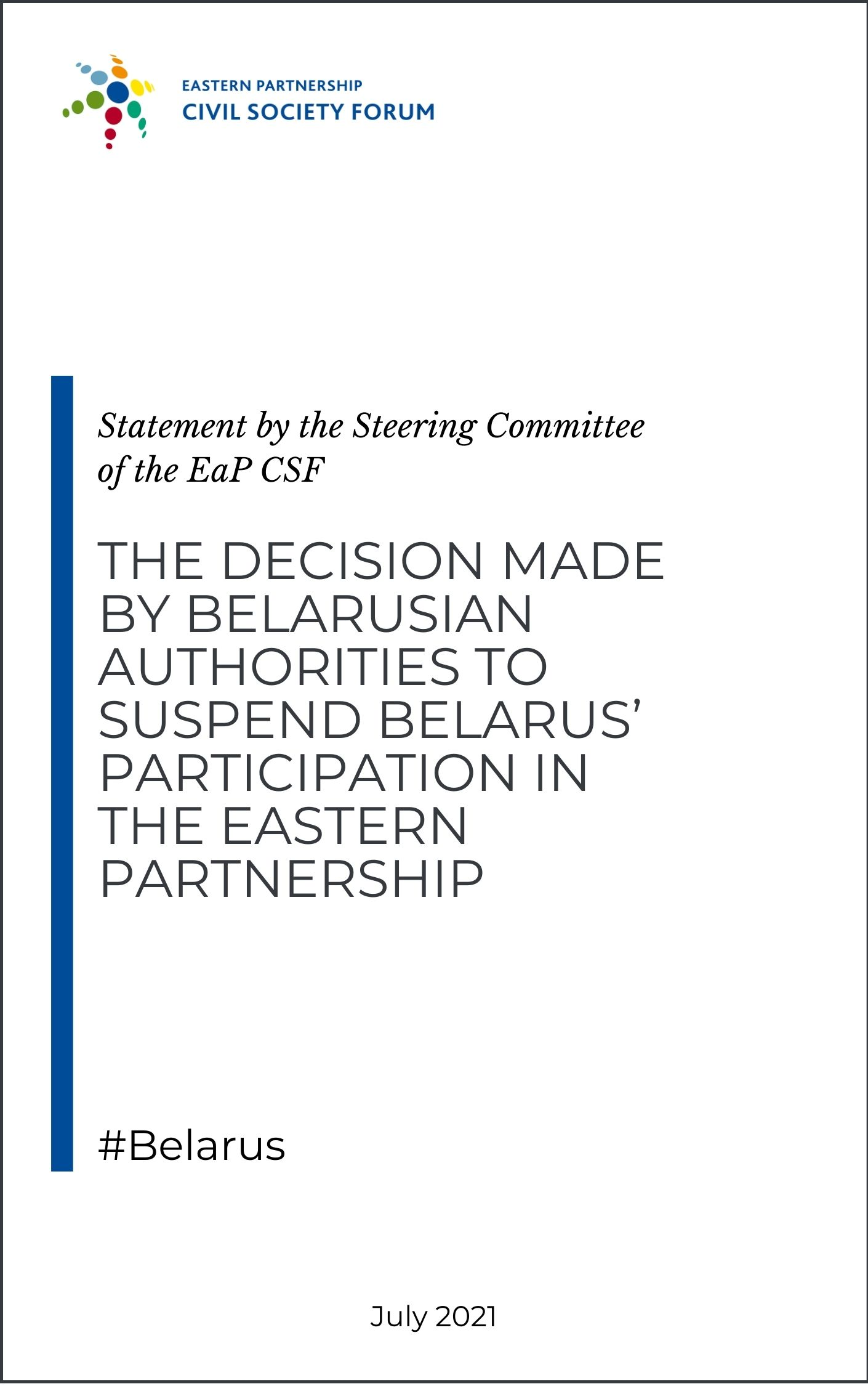 SC statement on the suspension of Belarus' participation in the EaP and the Readmission agreement