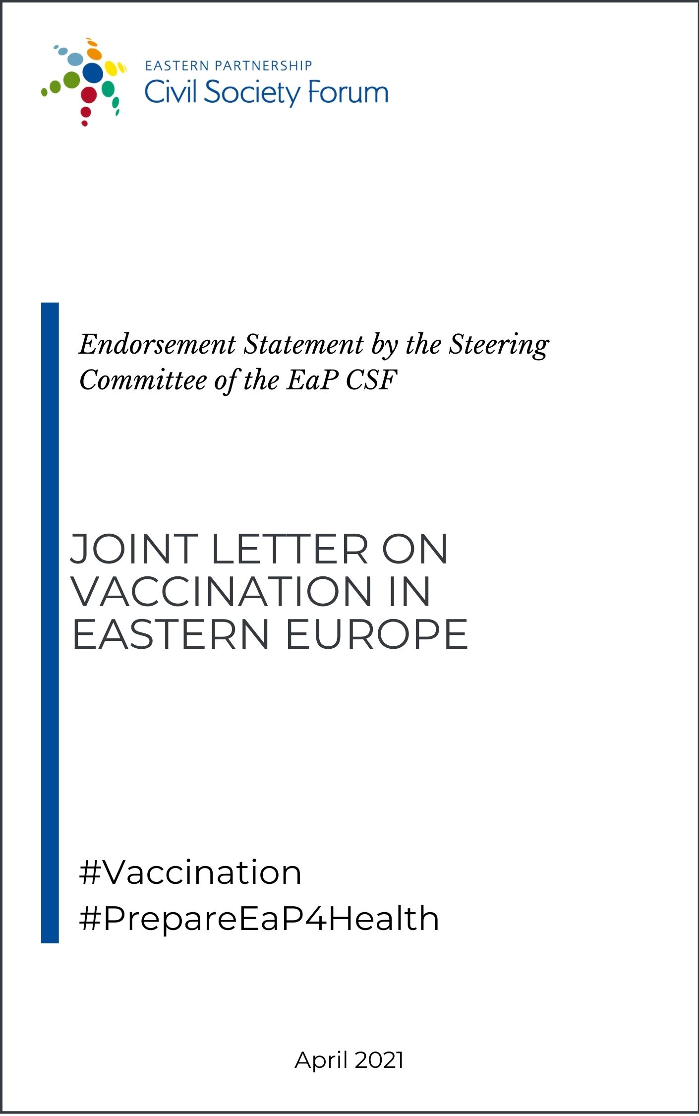 Endorsement statement by the Steering Committee for the joint letter on vaccination in EaP