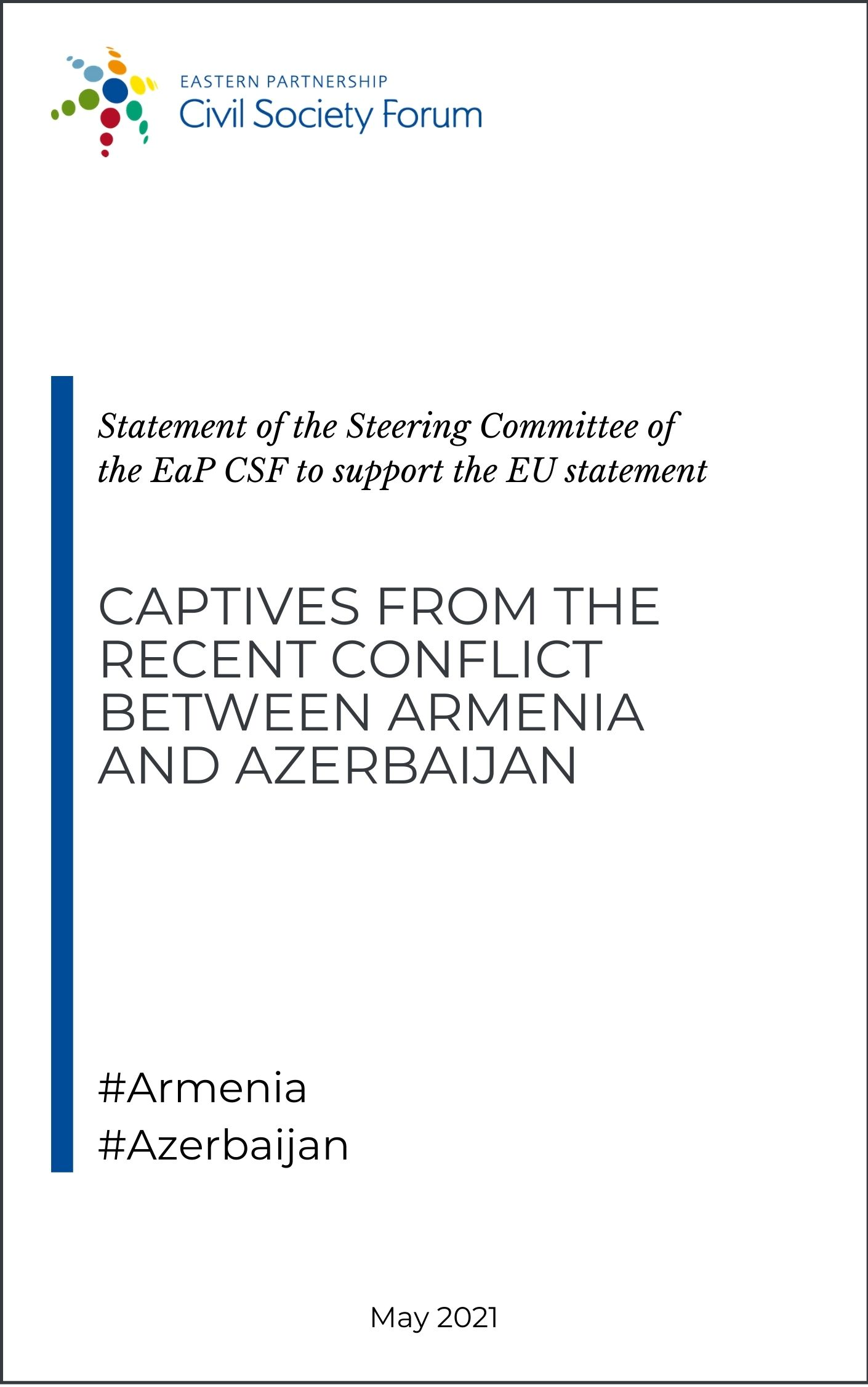 EaP CSF Steering Committee statement to support the EU Statement on captives from the recent conflict between Armenia and Azerbaijan