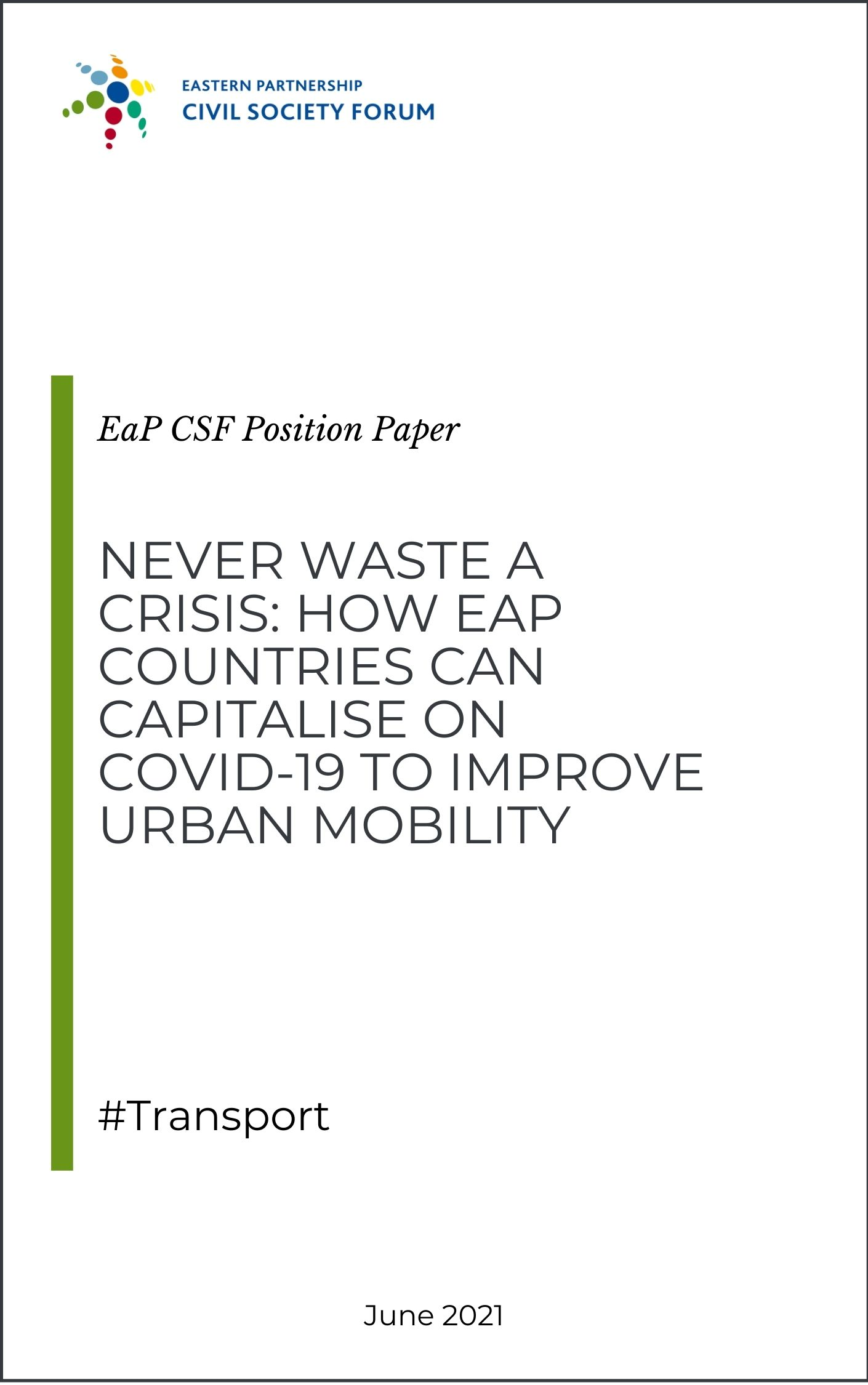 Position paper on transport and urban mobility during COVID-19