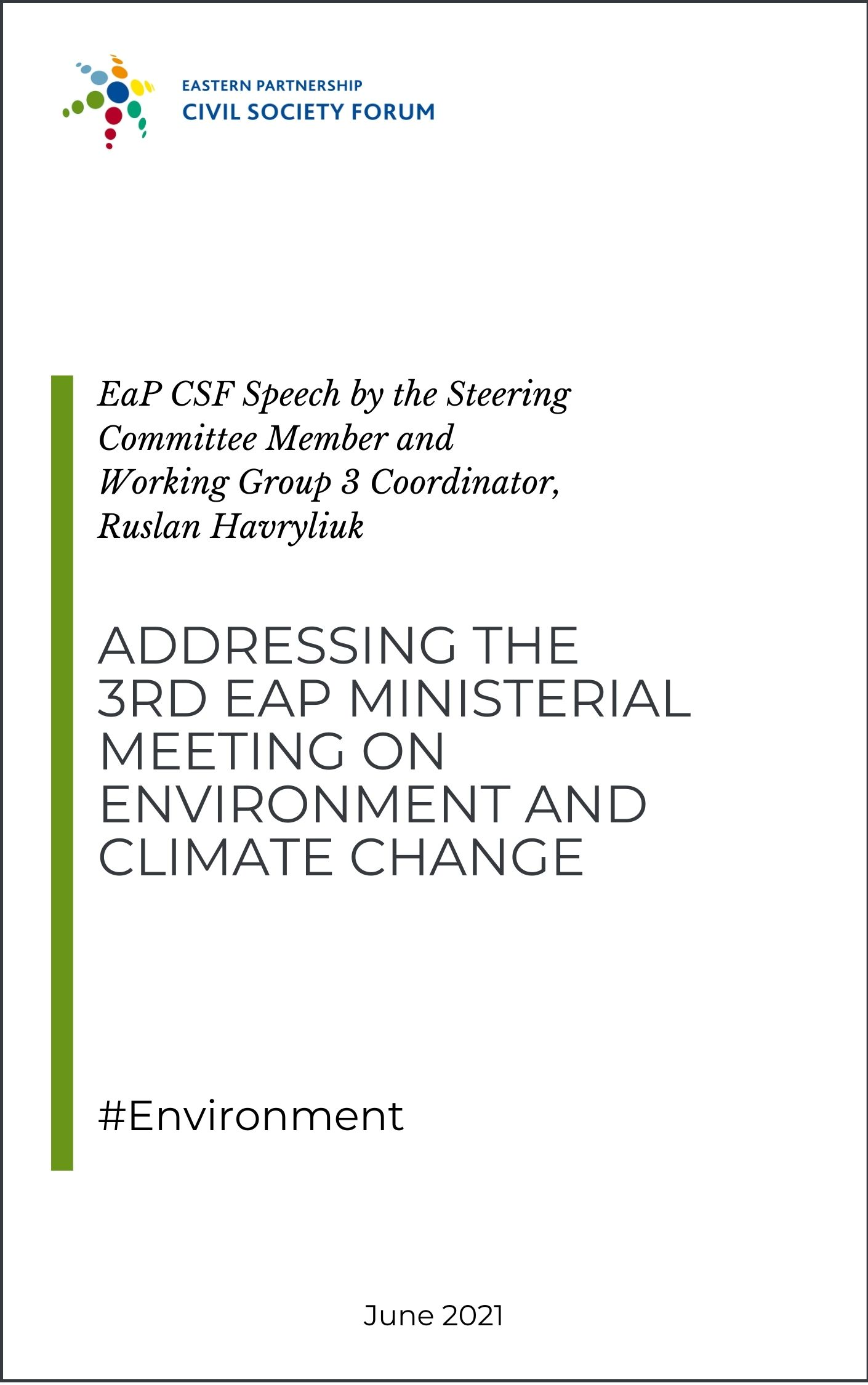 EaP CSF at 3rd EaP Ministerial Meeting on Environment and Climate Change