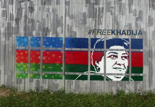 Khadija Ismayilova Depicted on a Mural in Warsaw