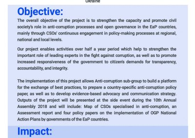 WG1 'Civil Society for Combating Corruption and Promotion Open Governance in the EaP Countries'